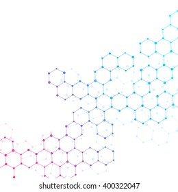 Abstract hexagonal background. Structure molecule DNA and chemical compounds. Medical, scientific or technological concept. Geometric polygonal graphics. Vector illustration