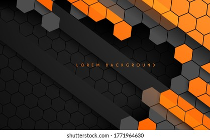 Abstract hexagonal black and orange color technology background