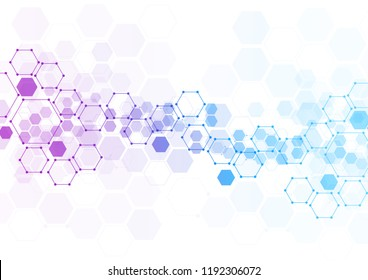 Abstract hexagonal molecular structures in technology background and science style. Medical substance and molecules design. Vector illustration