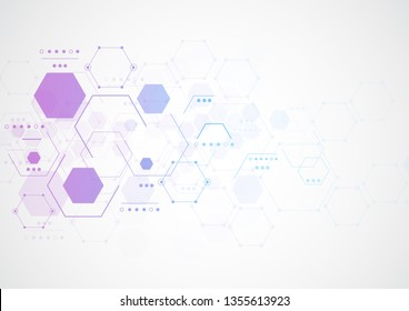 Abstract hexagonal molecular structures in technology background and science style. Medical design. Vector illustration