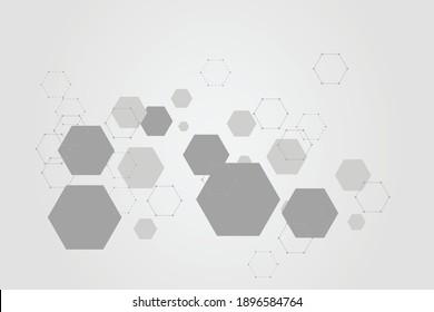 Abstract hexagonal molecular structures technology background. Vector illustration