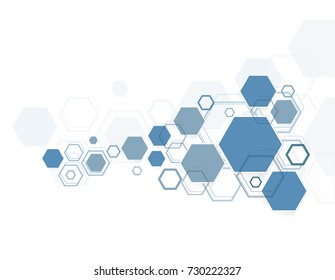 Abstract hexagonal structures in technology and science style.