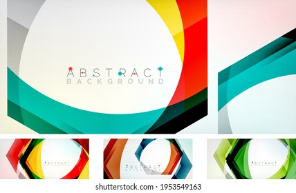 Abstract hexagons background. Set of minimal geometric wallpapers