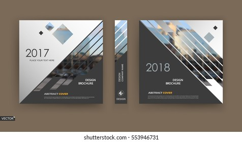 Abstract hi tech blurb. White, black brochure cover design. Fancy info banner frame. Ad flyer text font. Title sheet model. Modern vector front page. Creative urban city texture. Rhombus figures icon
