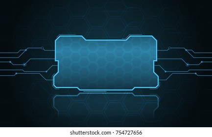 Abstract hi-fi digital futuristic frame. Vector technology template illustration.