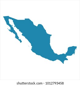 Abstract - High Detailed blue Map of Mexico isolated on white background. for your web site design map logo, app, ui, Travel. Vector illustration eps 10.