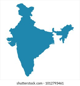 Abstract - High Detailed blue Map of India isolated on white background. for your web site design map logo, app, ui, Travel vector illustration eps10.