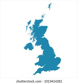 Abstract - High Detailed blue Map of United Kingdom isolated on white background. for your web site design map logo, app, ui, Travel. Vector illustration Eps 10.