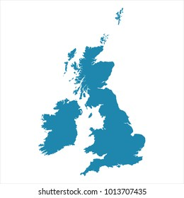 Abstract - High Detailed blue Map of United Kingdom isolated on white background. for your web site design map logo, app, ui, Travel Vector illustration Eps10.