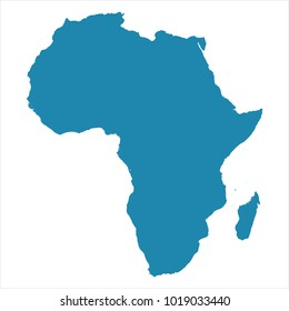 Abstract - High Detailed blue Map of Africa isolated on white background. for your web site design map logo, app, ui, Travel. Vector illustration eps 10.