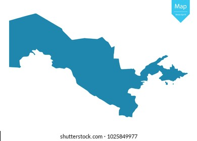 Abstract - High Detailed blue Map of Uzbekistan isolated on white background. for your web site design map logo, app, ui, Travel. Vector illustration Eps 10.
