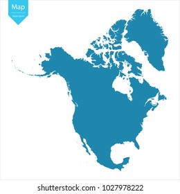 Abstract - High Detailed blue Map of North America isolated on white background. for your web site design map logo, app, ui, Travel vector illustration eps10.