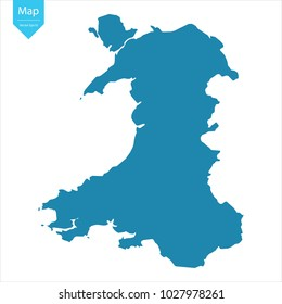 Abstract - High Detailed blue Map of Wales isolated on white background. for your web site design map logo, app, ui, Travel vector illustration eps10.