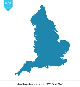 Abstract - High Detailed blue Map of England isolated on white background. for your web site design map logo, app, ui, Travel vector illustration eps10.