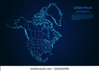 Abstract High Detailed Glow Blue Map on Dark Background of Map of North America symbol for your web site design map logo, app, ui,Travel. Vector illustration eps 10.