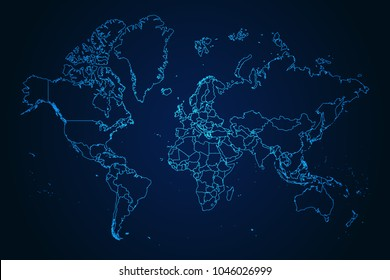 Abstract High Detailed Glow Blue Map on Dark Background of Map of World symbol for your web site design map logo, app, ui,Travel. Vector illustration eps 10.