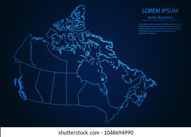 Abstract High Detailed Glow Blue Map on Dark Background of Map of Canada symbol for your web site design map logo, app, ui,Travel. Vector illustration eps 10.