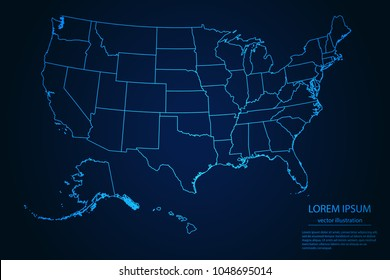 Abstract High Detailed Glow Blue Map on Dark Background of Map of United States of America symbol for your web site design map logo, app, ui,Travel. Vector illustration eps 10.