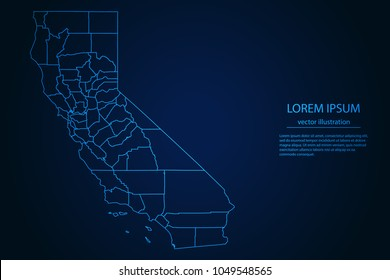 Abstract High Detailed Glow Blue Map on Dark Background of Map of California symbol for your web site design map logo, app, ui,Travel. Vector illustration eps 10.
