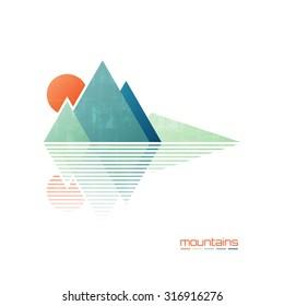 abstract high mountains vector icon. travel and rock climbing concept logo. landscape graphic design