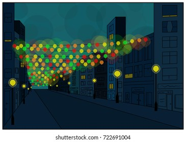An abstract high street on a deep blue evening with bright glowing christmas lights displayed from corner to corner of the buildings
