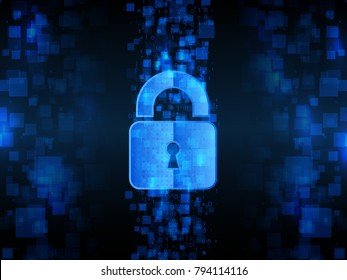 Abstract high tech background. Technology data protection concept. System privacy, Network security. Digital padlock vector illustration.
