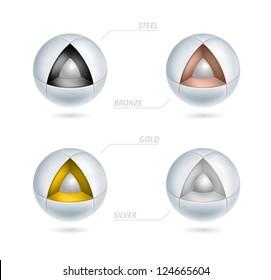 abstract high tech metallic icons - 3d vector