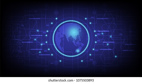 Abstract High tech technology blue background. Communications and Connection in the world.Vector illustration eps 10