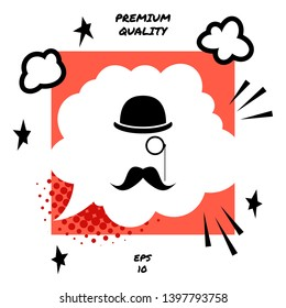 Abstract hipster silhouette with bowler hat, monocle, mustache.  Element for your design.