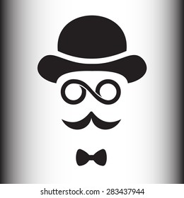 Abstract hipster silhouette with bowler hat, monocle, mustache.