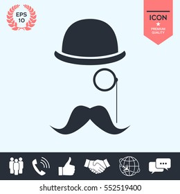Abstract hipster silhouette with bowler hat, monocle, mustache