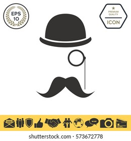 Abstract hipster silhouette with bowler hat, monocle, mustach