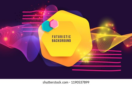 Abstract Hipster Technological Hexagonal Background Equalizer Speaking Motion Sound, wave of blurred lights. Fashion Vector Design Hexagonal Dynamic Forms Pattern Vector Illustration