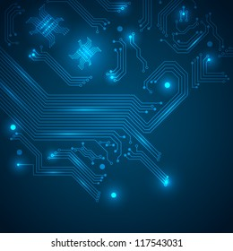 Abstract hi-tech background with circuit board texture. Vector illustration.