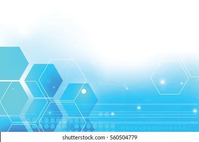 Abstract hi-tech technology background with hexagons.Creative digital futuristic internet template.Graphic modern computer banner.Design business card.Minimal blue screen wallpaper.vector.illustration
