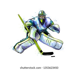 Abstract hockey goalkeeper from splash of watercolors. Hand drawn sketch. Winter sport. Vector illustration of paints