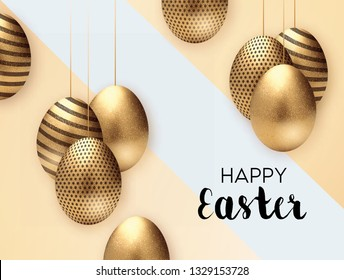Abstract Holiday Easter Card With Flowers, Eggs And Bunny