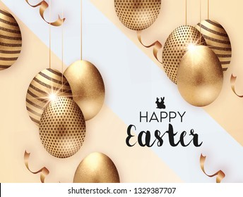 Abstract Holiday Easter Card With meyallic golden glitter Eggs And Bunny