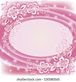 Abstract holiday pink background with symbolical flowers and frame. Vector eps10, contains transparencies