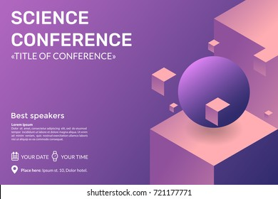 Abstract holographic 3dbackground with levitating geometric shapes. Science conference invitation concept. Advertising of scientific seminar. Vector eps 10.