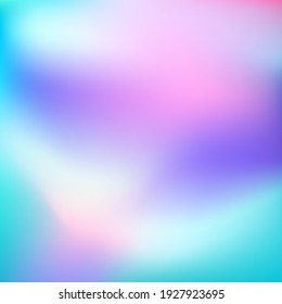 Abstract Holographic  background. Blurred mint purple white gradient backdrop as unicorn colors. Vector illustration for your graphic design, banner, poster
