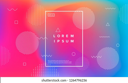 Abstract holographic background with memphis geometric elements. Synthwave/ retrowave/ vaporwave neon aesthetics.