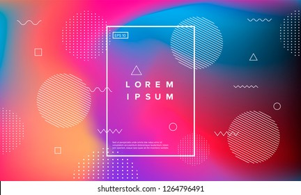 Abstract holographic background with memphis geometric elements.