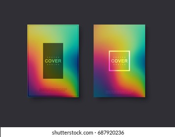 Abstract holographic cover design. Vector creative illustration. Mockup template for design. A4 paper size poster with abstract liquid fluids rainbow background. Iridescent flyer. Party invitation