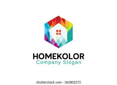 Abstract Home Color Logo Vector Design Illustration