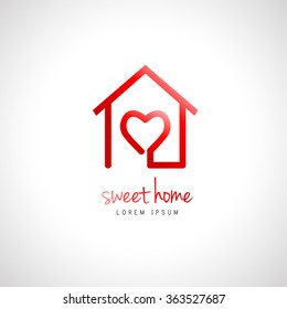 Abstract home logo with heart inside. House design as home sweet home concept.
