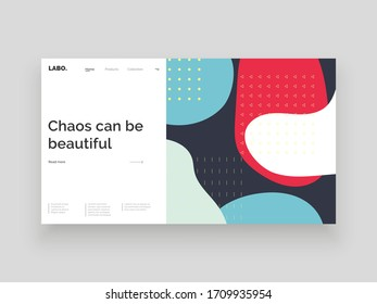 Abstract homepage design. Colorful fluid spots and geometric shapes. Decorative backdrop. Minimal texture, decor elements and shapes. Eps10 vector illustration.