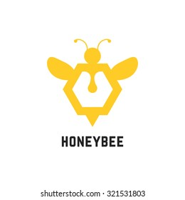 abstract honey bee sign. concept of visual identity, promotion, syrup, liquid sweetness, honeyed nectar, apiary. isolated on white background. flat style trend modern brand design vector illustration