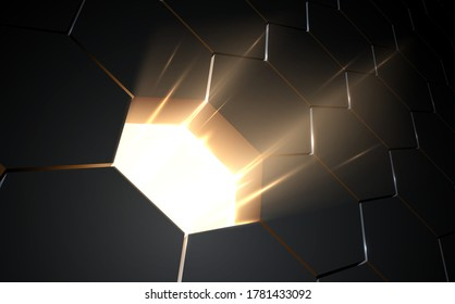 Abstract honeycomb background with hole and light effect