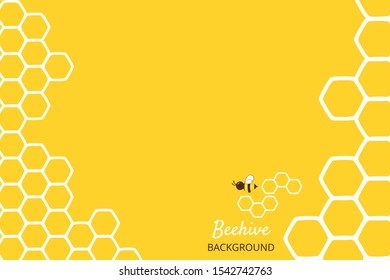 Abstract honeycomb with hexagon grid cell and cartoon bee on yellow background vector illustration. flat design